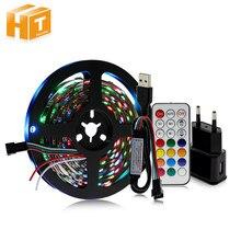 WS2812B bande LED USB 5V Dream couleur ensemble RGB bande LED modifiable + contrôleur 21Key + adaptateur secteur