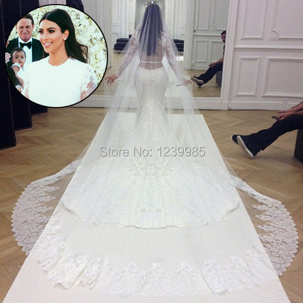 Kim Kardashian Wedding Dress Elegant White Scoop Long Sleeves Lace Court Train Mermaid Bridal Gowns Eck002 In Dresses From
