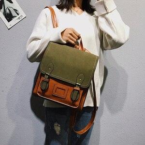 Image 1 - Vintage Pu Leather Women Backpack Preppy Style Backpacks Women Fashion School Bag College Backpack Women Shoulder Bags Mochilas