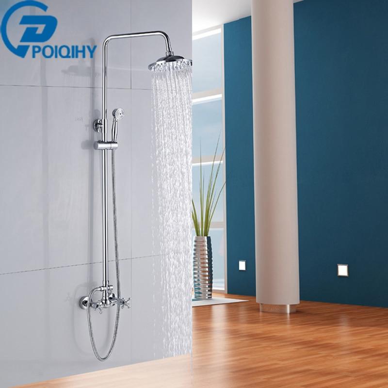 POIQIHY chrome shower set 8 inch shower head handheld shower dual cross handle wall mounted bath & bathroom shower poiqihy chrome rain