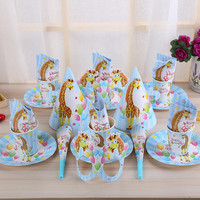 Cute Disposable Cartoon Theme Birthday Party Decoration Paper Tableware Set Plate Cups Kids Boys Girls Festival