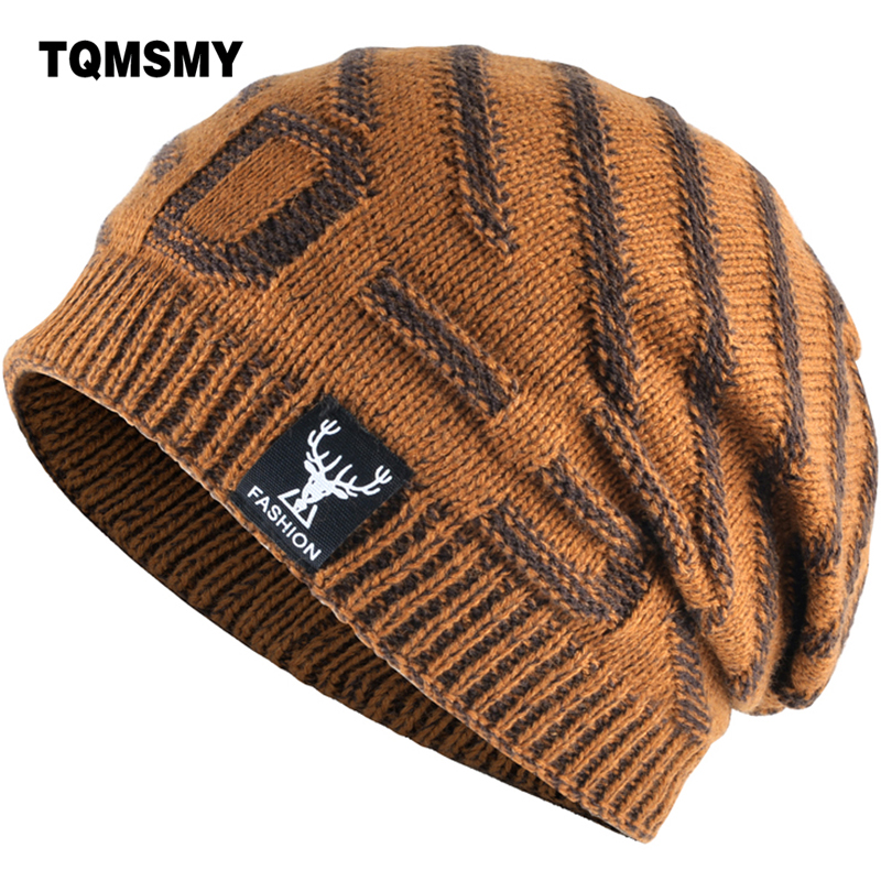 TQMSMY 2018   Beanies   Knit Men Winter Hat Caps   Skullies   Bonnet add velvet Hats For Men Women   Beanie   Warm Baggy Knitted Hat TMD29