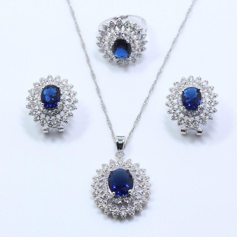 blue zircon white 925 silver flower jewelry sets