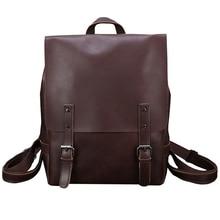 Leather Backpack Vintage Laptop Bookbag for Women Men, Brown Faux Purse College School Weekend Travel