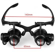 Magnifying Glass Lupas 10X 15X 20X 25X Magnifier Double Eye Glasses Loupe Lens Jeweler Watch Repair Magnifier with 2 LED Lights