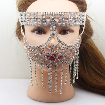 Insolito Strasse maschera in Le Donne del Partito di travestimento maschere Festa di natale 2017 verticale tenda di strass maschera