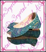 Aidocrystal 2016 summer peep toe dark blue crystal no heel shoes ladies party bridal flat shoes