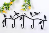 Lowest Price Iron Birds Leaves Hat Towel Coat Wall Decor Clothes Hangers Racks With 5 Hooks