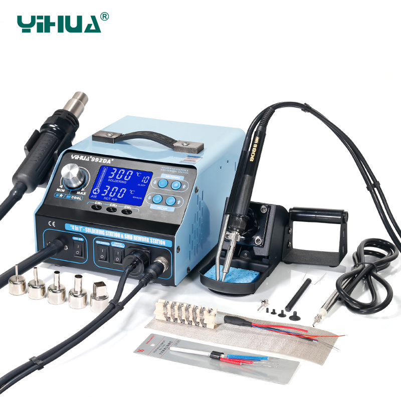 YIHUA 992DA+ Hot Air LCD Soldering Station Smoking Solder Iron With BGA  Rework Station 4 In 1 Vacuum Pen yihua 27 in 1 portable digital bga rework solder station hot air electric soldering iron electronic welding repair tools set