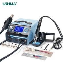 YIHUA 992DA + LCD لحام محطة مع التدخين اللحيم الحديد فراغ القلم بغا محطة الهواء الساخن ضربة مجفف لحام محطة