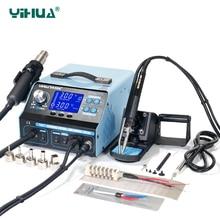 YIHUA 992DA + ЖК дисплей паяльная станция с курением припой вакуумный ручка BGA паяльная станция горячего воздуха фена сварки станция