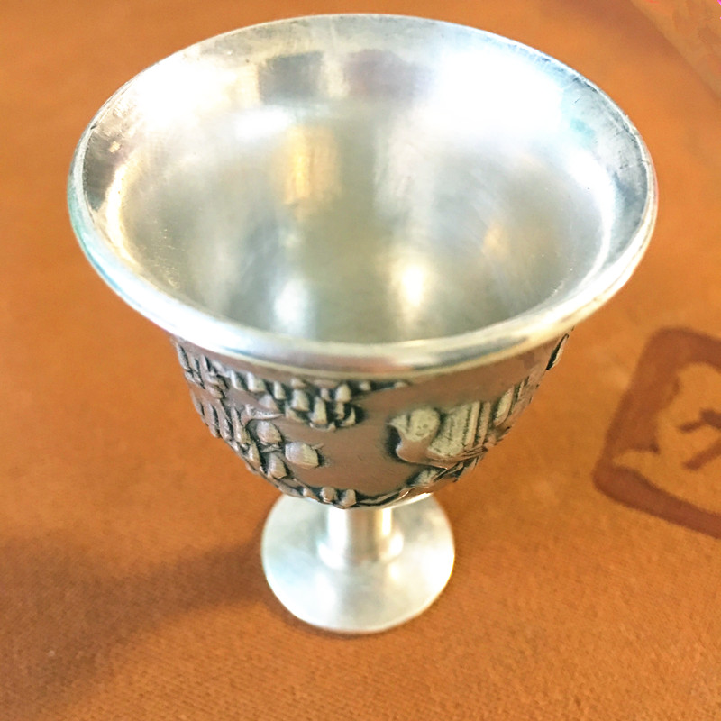 CHINEA FOLK old Carved Tibetan silver Good fulushouxiHigh foot cup for instruments A set of 4 cupCHINEA FOLK old Carved Tibetan silver Good fulushouxiHigh foot cup for instruments A set of 4 cup