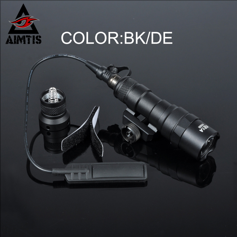 AIMTIS M300B Mini Scout Light Tactical Waterproof Rifle Hunting Flashlight Constant / Momentary Output for 20mm Picatinny Rail greenbase sf tactical m300v ir scout light weaponlight white and led ir flashlight constant momentary output 20mm rail