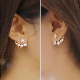 Korean 5 Rhinestone Pearl Circle Two Way Moon Ear Cuff Earrings Asymmetric Fashion 2017 Women Champagne