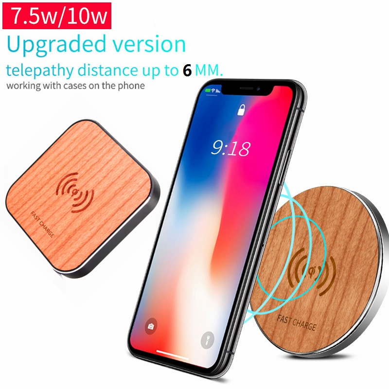 Wood Portable Qi Wireless Charger Fast Charging Pad For Samsung S9 S7 S8 Note 8 iPhone X XR Plus for Huawei P30