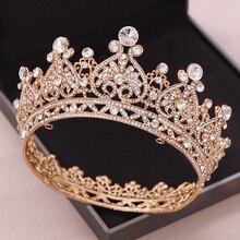 כסף צבע זהב גדול עגול כתר הבארוק נזר כתר גביש לב חתונה שיער Accessorie מלכת נסיכת נזר הכלה קישוט