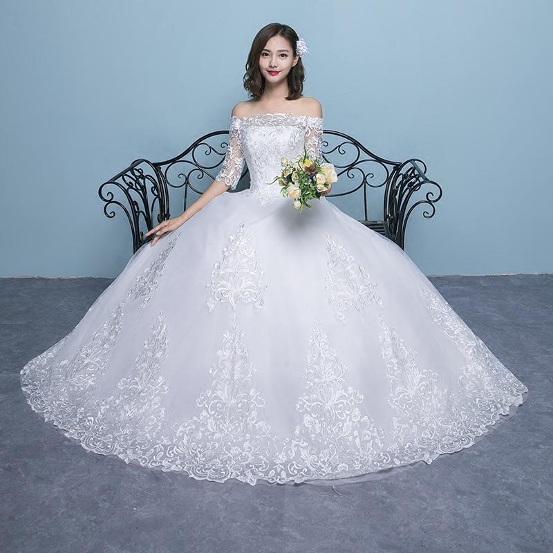 Wedding Dress 2019 New Arrival Butterfly Gelinlik Embroidery Lace Boat Neck Off the Shoulder Princess Gowns Vestidos De Novia - 4