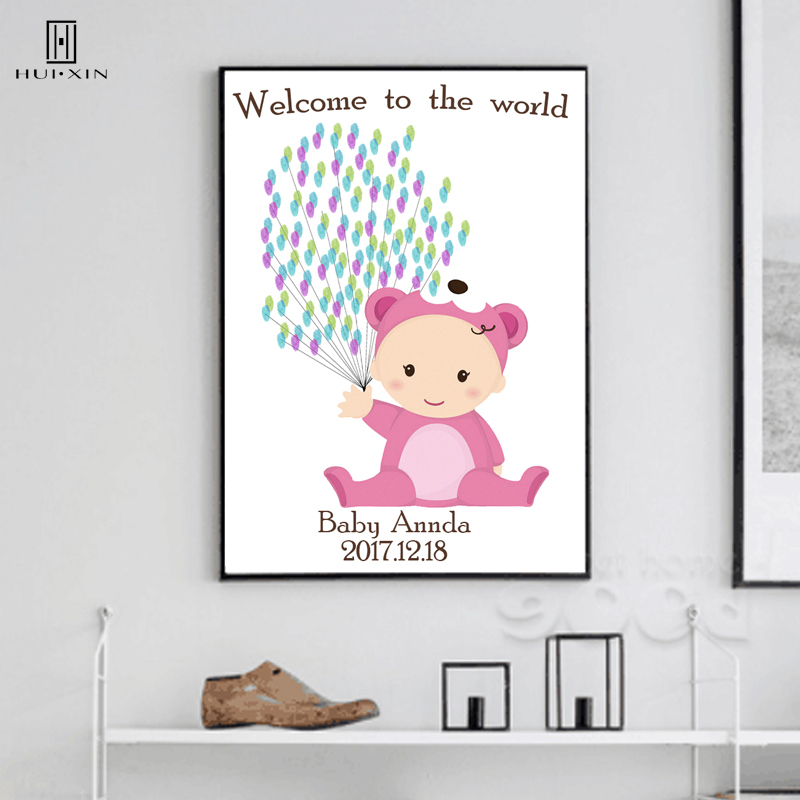 Welcome to the World Baby Shower Party Best Souvenir Gift DIY Fingerprint Signature Guest Book Lovely Pink Baby with Balloons image