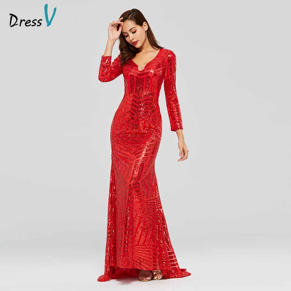 Dressv red evening dress v neck long sleeves sequins mermaid floor-length wedding party formal dress trumpet evening dresses