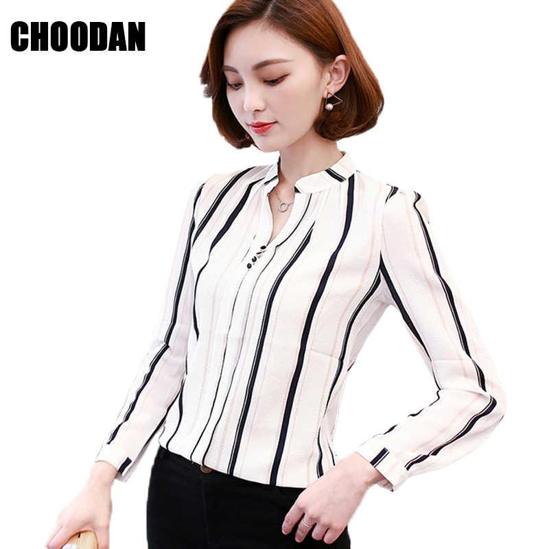 a6ea7ee2935 Блузка в полоску Блузка с длинными рукавами рубашка Для женщин печатных  шифон Топы женские 2018 Демисезонный