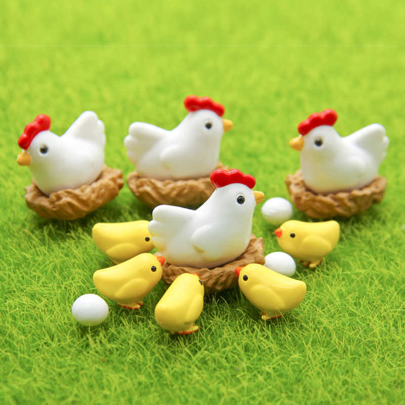 3PCS Figurines Cute Mini Chick/Egg/Coop Chicken Family Garden Miniatures Artificial Micro Landscape Resinas