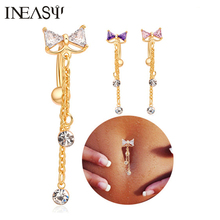 Belly Piercing Navel Nail Medical Steel Reverse Belly Button Ring Angle Bowknot Navel Bar Silver Plated Body Jewelry Piercing