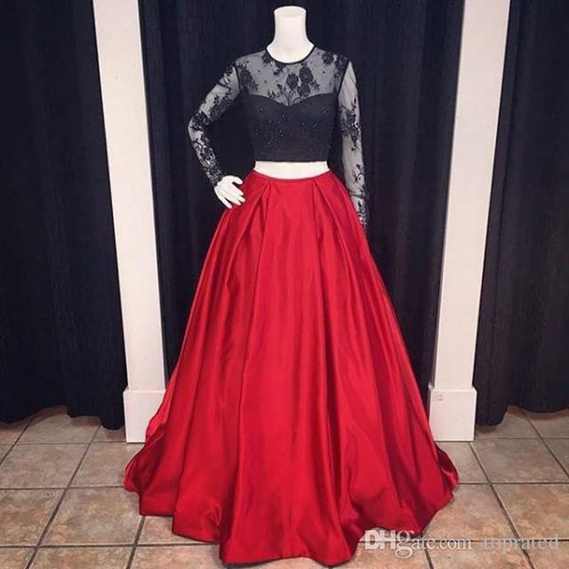 cf2a723b4e5b Custom Made Sexy Two Piece Prom Dresses Long Floor Length Special Occasion  2 Colors Long Sleeves Prom Party Dresses FH38