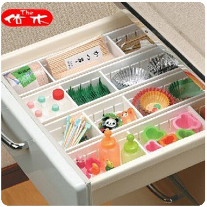 4pcs Expandable Grid Drawer Divider Case Organizer Tray Closet Drawers  Storage Space Separater Kitchen Home Office DIY Partition