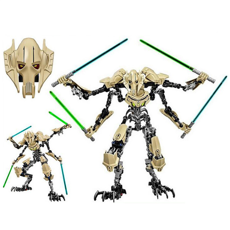 183pcs Star Wars General Grievous with Lightsaber Figure Toys Building Blocks Compatible with Legoingly starwars Gift Toys ksz326 star wars rogue one toys jango phasma jyn erso k 2so darth vader general grievous figure toy building blocks toys