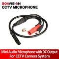 4 unids cámara cctv micrófono audio pick up amplia gama mic audio micrófono mini dc salida de cctv de seguridad dvr
