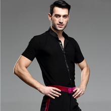 Short Sleeve Button Mens Latin Shirts Dance Top Ballroom Dancewear Latin Dance Costumes Stage Clothing Ballroom