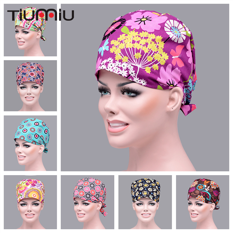14 Colors Floral Printed Cute Scrub Caps High Quality Gourd Hat Clinic Hospital Dental Surgical Laboratory Pharmacy Medical Caps