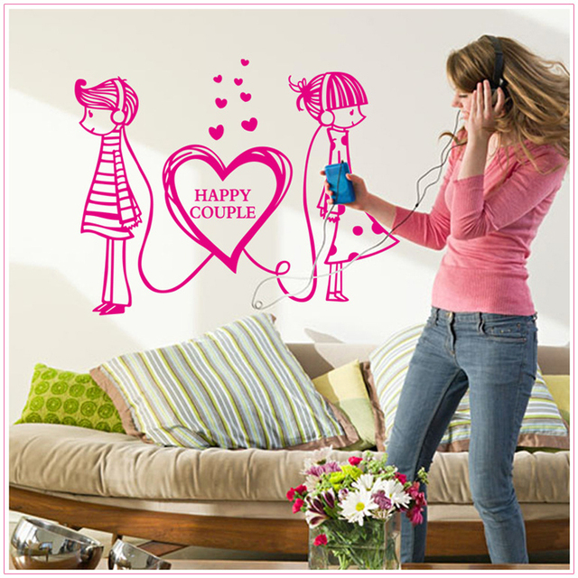 Romantic Kawaii Sweet Happy Couple Removable Wall Sticker Bedroom Drawing Room Home Decor