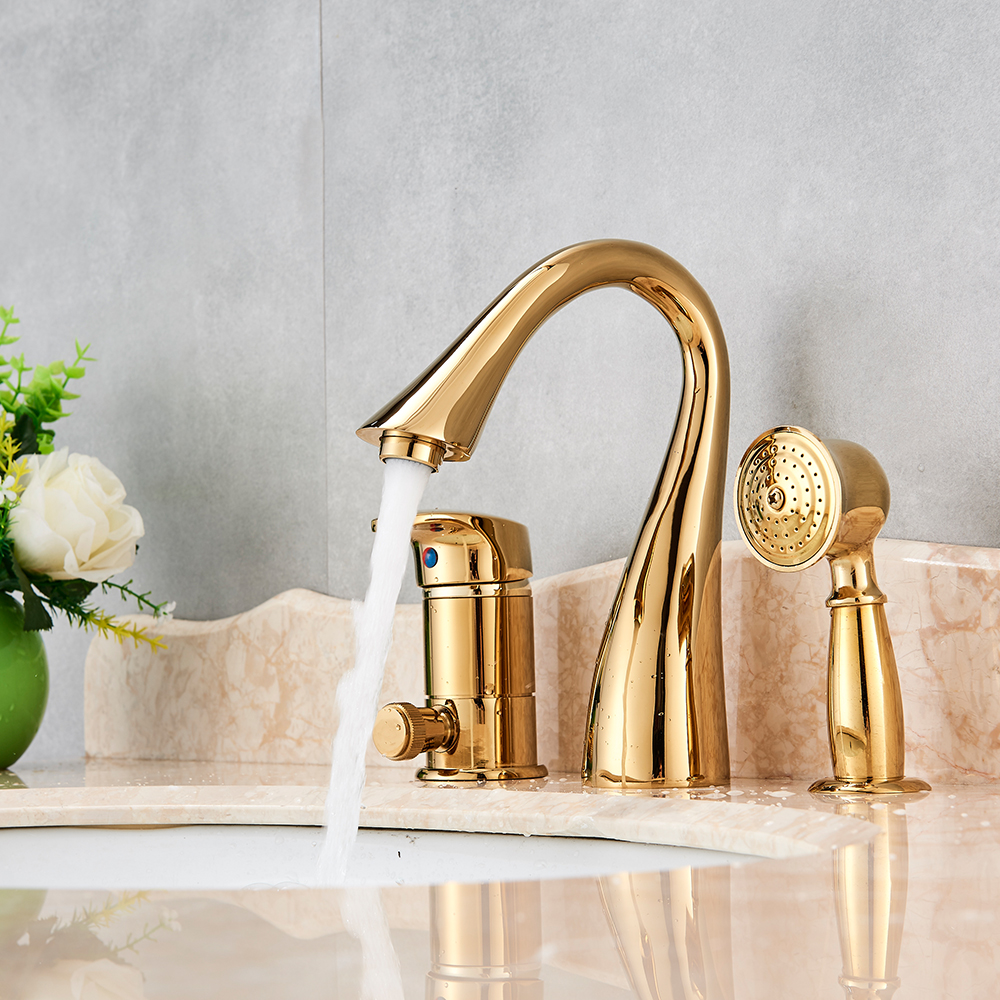 Solid Brass Golden Polish 3pcs Bathroom Faucet Vessel Sink Faucet Deck Mounted Mixer Tap With Hand Shower Hot and Cold Water-in Basin Faucets from Home Improvement    1