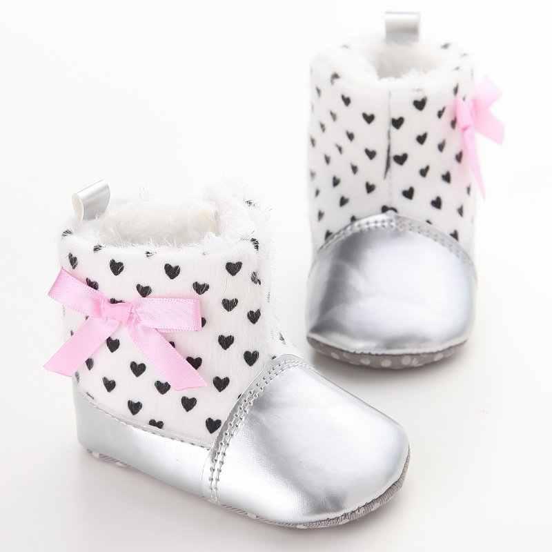 2018 детские ботинки для маленьких мальчиков и девочек; зимняя теплая детская обувь; мягкая обувь для новорожденных из искусственной кожи