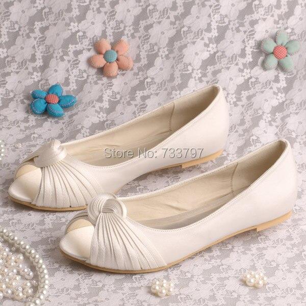 Wedopus Women Wedding Shoes Ivory P Toe Slip On Satin Bridal Flats