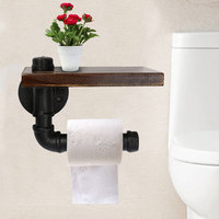 Toilet Paper Holder with Wood Storage Shelf Bathroom Home Office Wall Mount Metal Pipe for Phone Holder Tissue Towel Soap Box