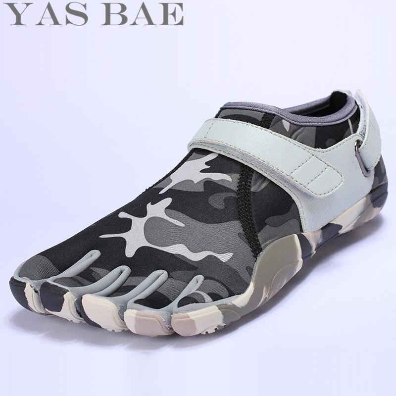 Yas Bae迷彩ビッグサイズデザインゴムで5本指屋外耐性通気性軽量軽量スニーカーの靴男性用