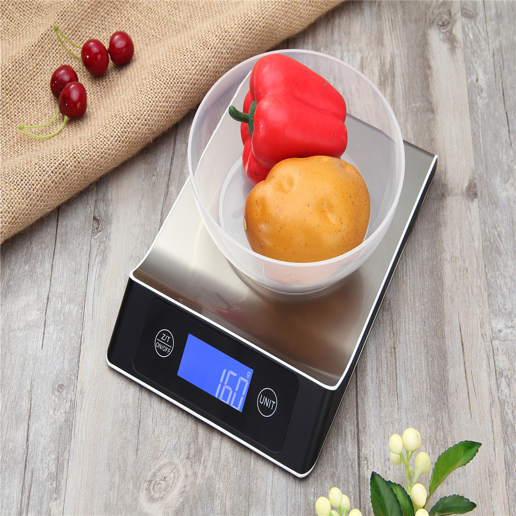 5kg1g Digital Scale Kitchen Measure Tools Stainless Steel Electronic Weight Digital scale LCD with blue backlight