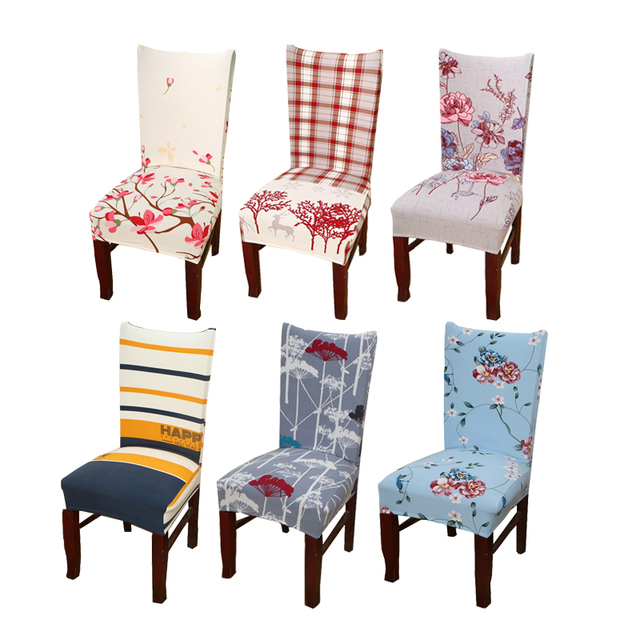 1pc Durable Spandex Polyester Universal Office Computer Cute Flower Cactus  Pattern Chair Cover Christmas Party Dining