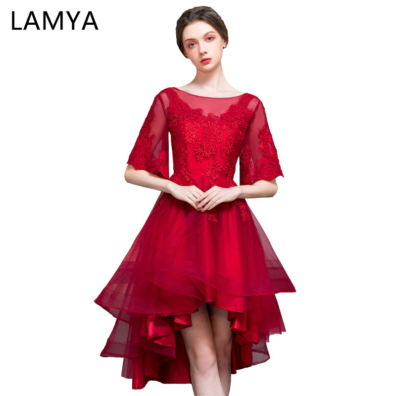 LAMYA Customized Burgundy Half Lace Sleeve   Prom     Dress   2019 Elegant High Low Evening Party   Dresses   vestido de festa