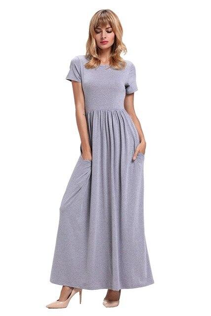 short sleeve dress shirts women Ruched Waist Maxi boho Dress summer beach  dress women beachwear vestido