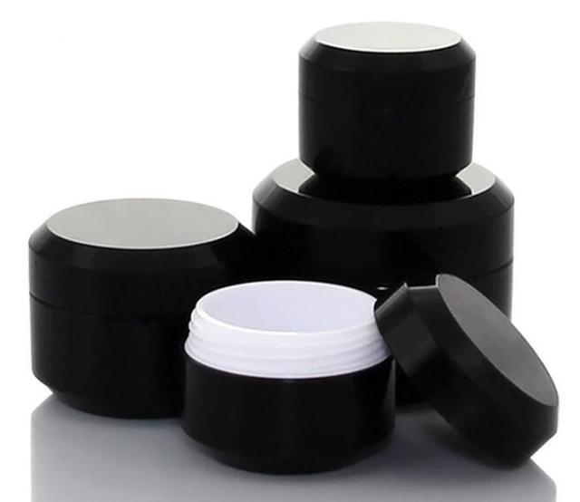 10ชิ้นสีดำรอบครีมขวดขวดหม้อคอนเทนเนอร์เปล่าเครื่องสำอางพลาสติกตัวอย่างกล่องสำหรับเล็บเจลG Litterการจัดเก็บ