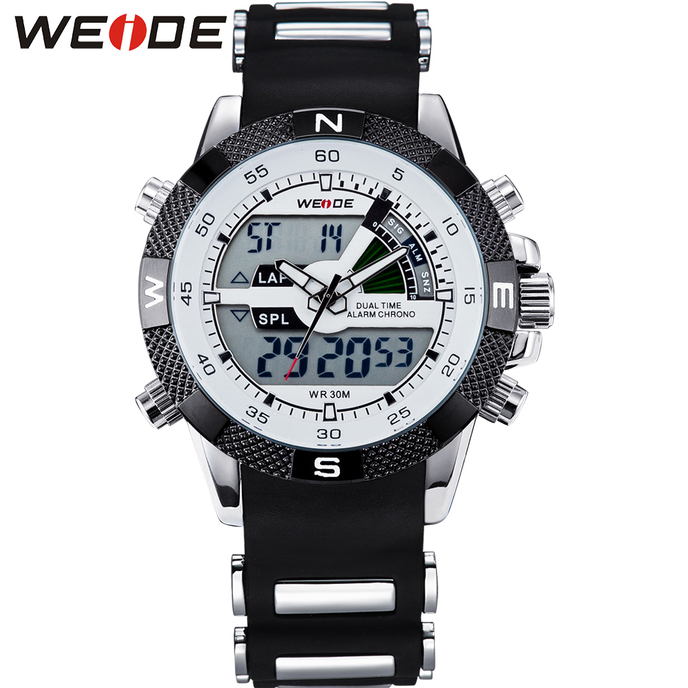 ФОТО WEIDE Top Brand Mens Digital Dual Time Watch Full Stainless Steel Back 30M Water Resistant LCD Wrist Watches Gifts For Men