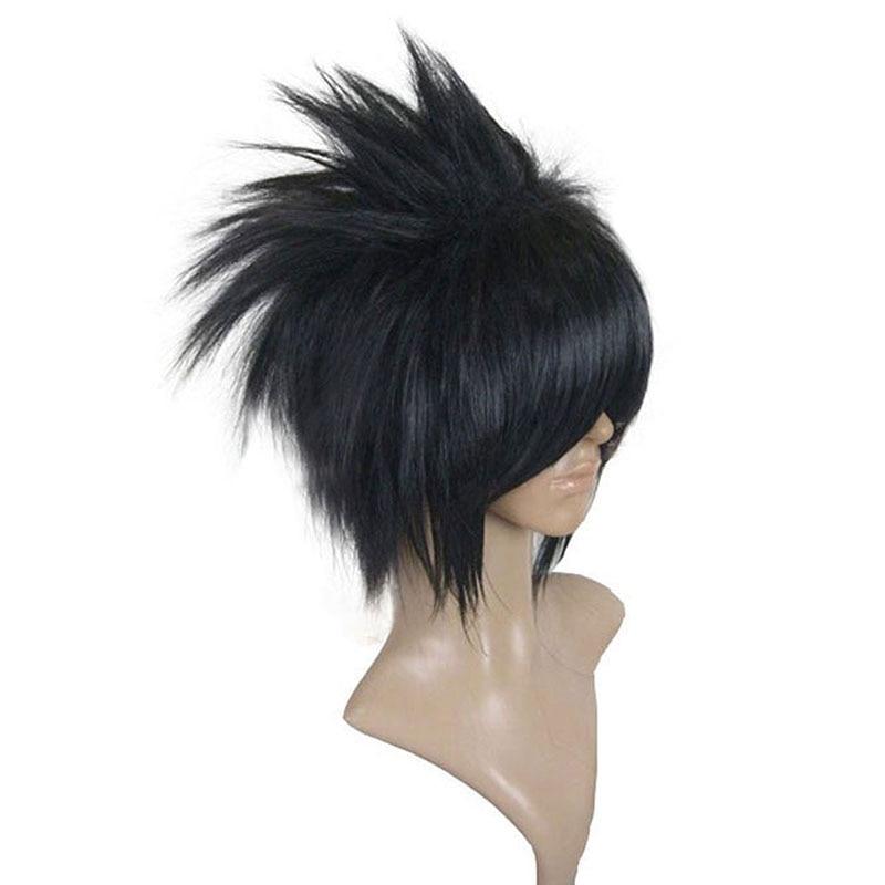 Naruto Uchiha Sasuke Wigs Black Short Straight Shaggy Layered Synthetic Cosplay Wig + Wig Cap Free