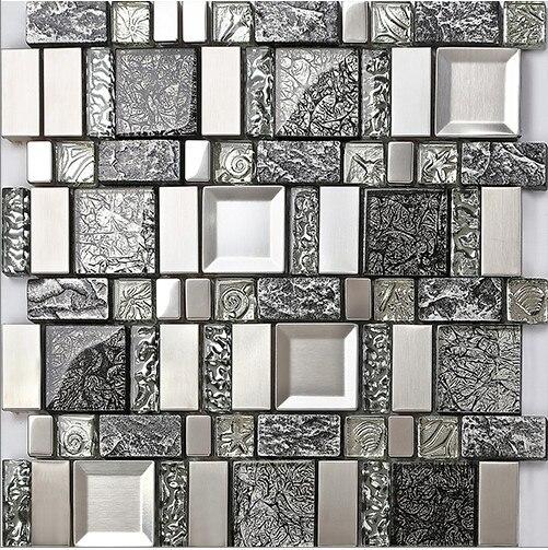 купить Crystal Glass Brushed metal backsplash Resin wallpaper,Bathroom Kitchen fireplace Backsplash meshback Tile 3DWall decor,LSRN1213 недорого