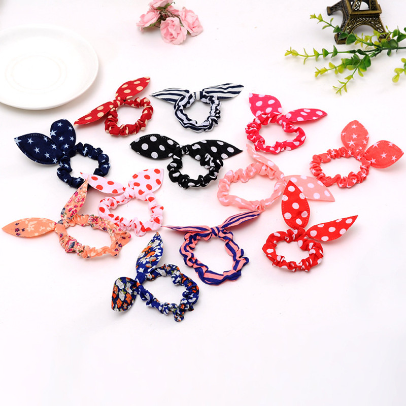 10 Pcs/lot Cute Bunny Girls Flower Headbands Rabbit Ears Fabric Polka Dot   Headwear   Elastic Hair Band Hair Ropes