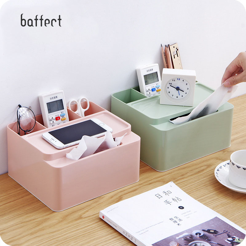 New Desktop Makeup Storage Box Space Saving Tissue Box Remote Controller Holder Home Sundries Cosmetic Tools Organizer Container