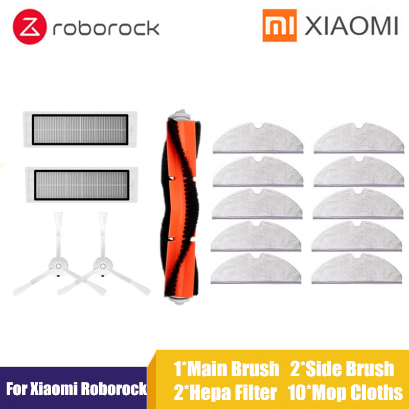 Suitable For Xiaomi Vacuum 2 Roborock S50 Accessories Xiaomi Mi Robot Vacuum Parts Main Brush+HEPA Filter+side Brush+mop Cloth(China)