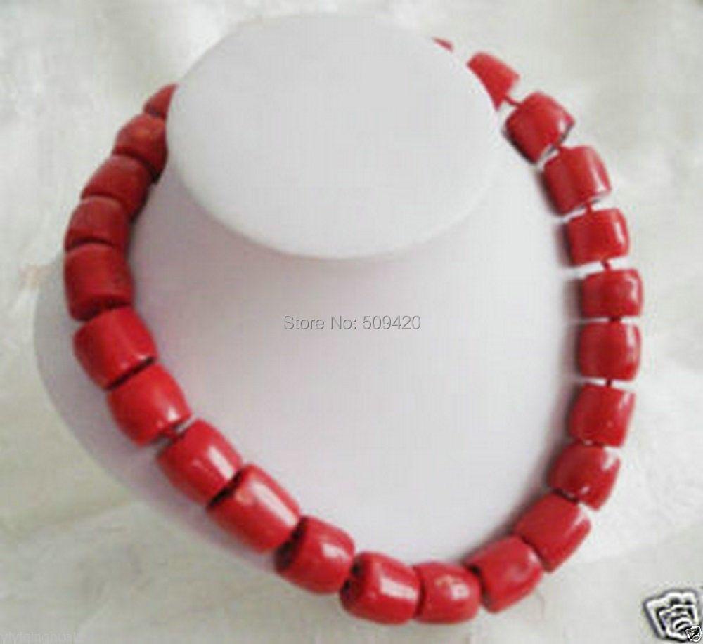 """W& O655>> Прекрасный! тибет Red Coral Серебряное Ожерелье крупные бусины 18"""""""